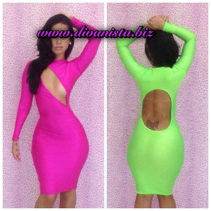 Pink Slash Dress with Open Back