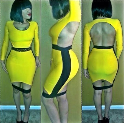 Black & Yellow  Cut out Body Con