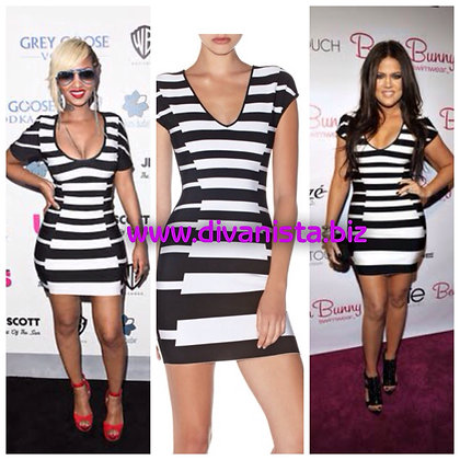 Black & White  Stripe Bandage Dress