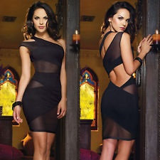 Black Mesh One Shoulder Mini Dress