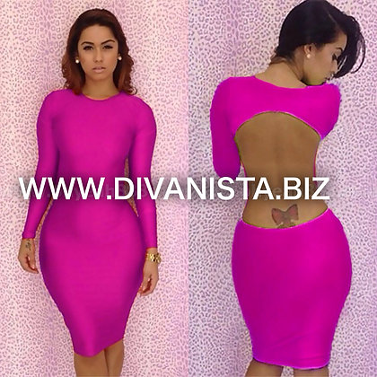 Long SleevePink Body Con