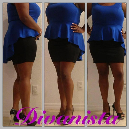 Royal Blue & Black Peplum
