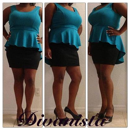 Black & Jade Peplum Dress