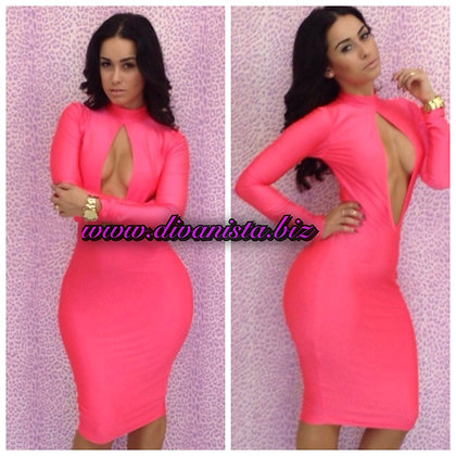 Open bust bodycon dress