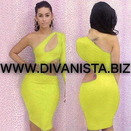Lime Cut out Dress