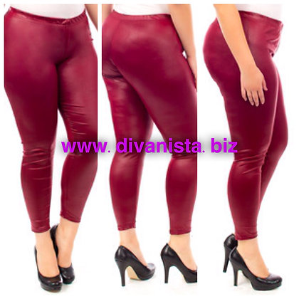Crandberry Red Faux Leather Tights