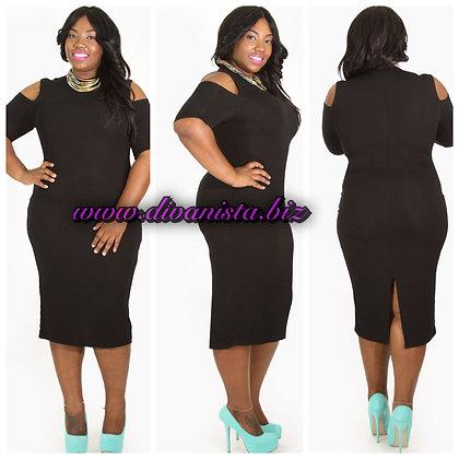 Black Open Shoulder Midi Dress