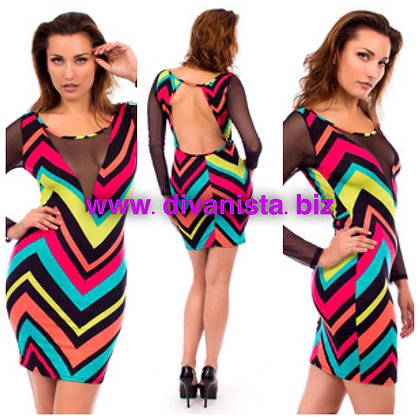 Sheer Cleavage Geometric Neon Print Dress