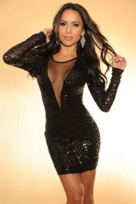 Sexy Black Long Sleeve Sequin Dress