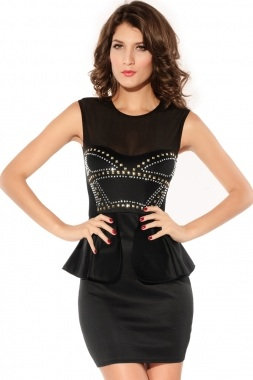 Red or Black Studed Peplum Mini