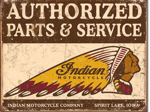 Authorized Indian Parts and Service Metal Sign #1930