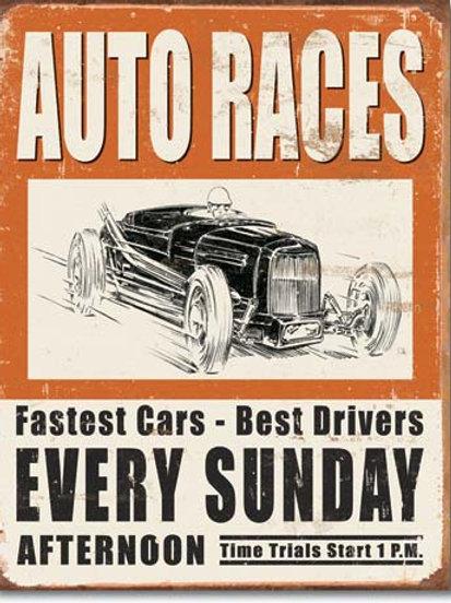 Vintage Auto Races Metal Sign #1546