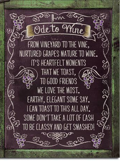 Ode to Wine Metal Sign #2150