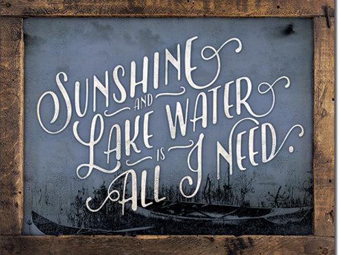 Sunshine & Lake Water Metal Sign #2360