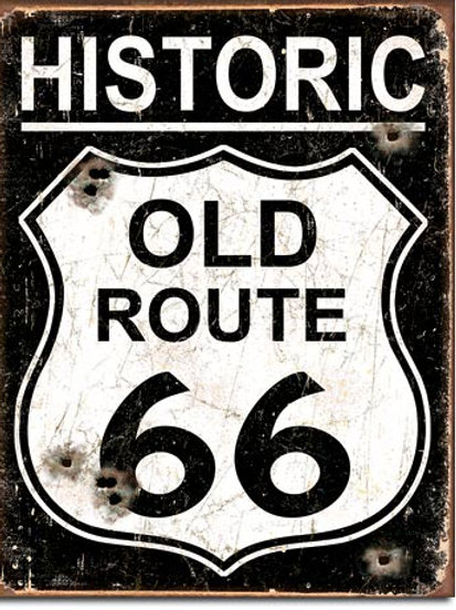 Old Route 66 - Weathered Metal Sign #1938