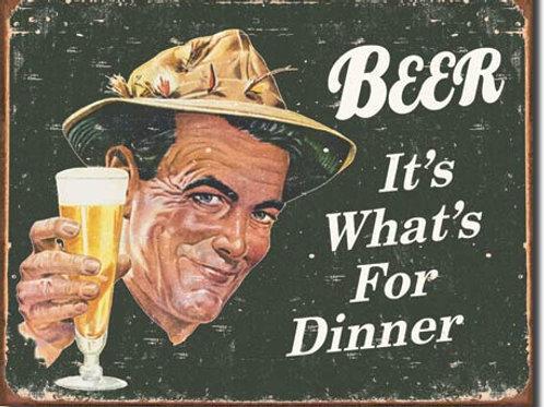 Beer For Dinner Metal Sign #1424