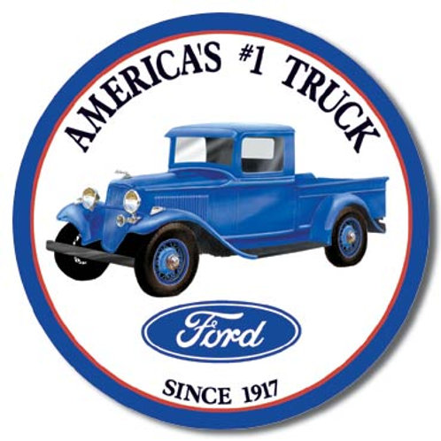 Ford Trucks - Round Metal Sign #1009