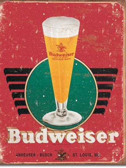 Budweiser Retro Glass & Logo Metal Sign #1483