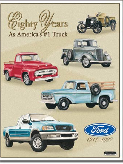 Ford Trucks - 80 Year Tribute Metal Sign #712
