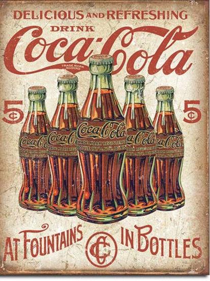 Coca Cola - 5 Bottles Retro Metal Sign #2091