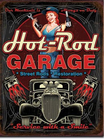 Hot Rod Garage - Pistons Metal Sign #1990
