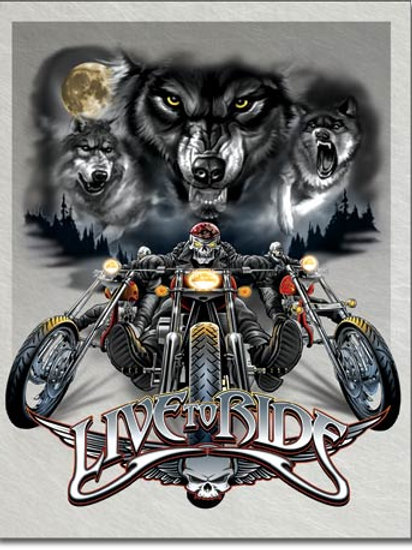 Live to Ride Wolves Motorcycle Metal Sign #1442