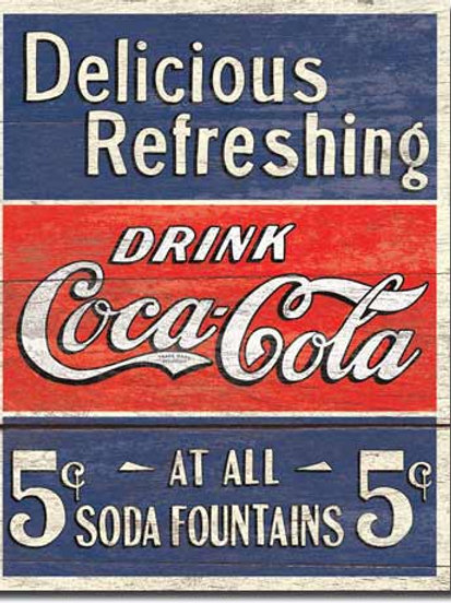 COKE - Delicious 5 Cents Metal Sign #1619