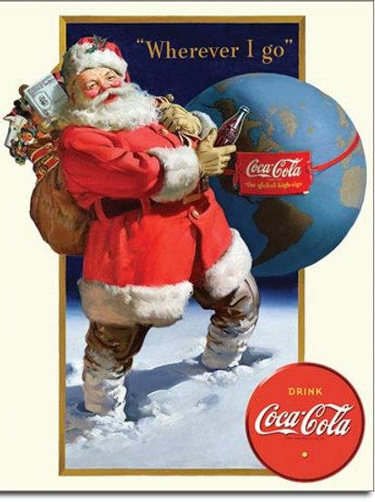 COKE - Santa Globe Metal Sign #2189