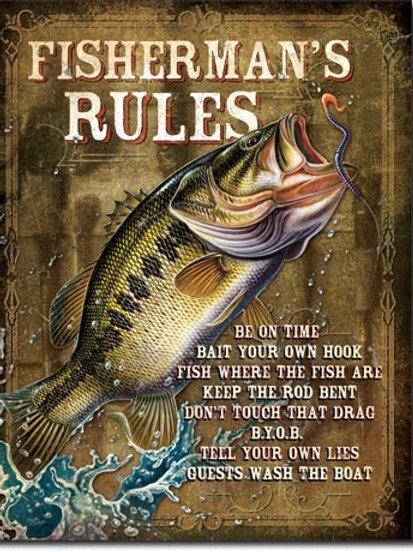 Fisherman's Rules Metal Sign #1870