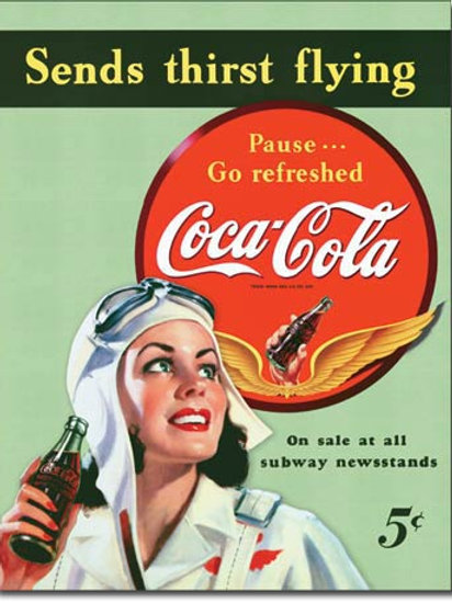 COKE - Sends Thirst Flying Metal Sign #1045