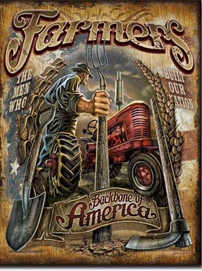 Farmers Backbone of America Metal Sign #2158