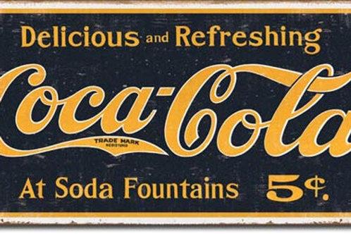 COKE - 1800's Logo Weathered Metal Sign #1235