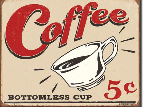 Coffee 5 Cents Metal Sign #1178