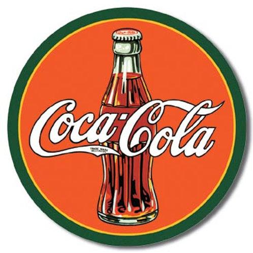 COKE - Round 30's Bottle & Logo Metal Sign #1069