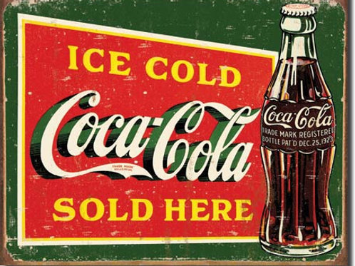 COKE - Ice Cold Green Metal Sign #1393
