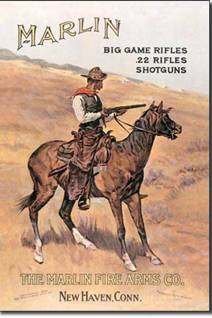 Marlin / Cowboy on Horse Metal Sign #238