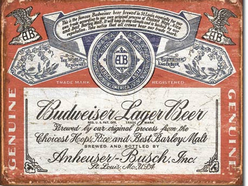 Budweiser Historic Label Metal Sign #1751