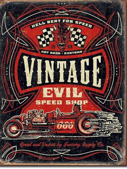 Vintage Evil - Hell Bent Rods Metal Sign #1972