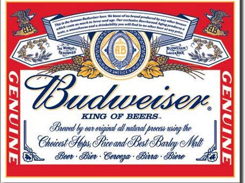 Budweiser Label Metal Sign #979