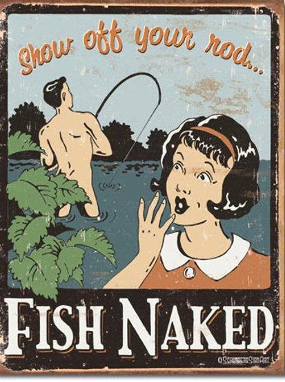 Fish Naked Metal Sign #1488