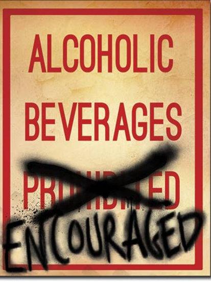 Alcoholic Beverages Encouraged Metal Sign #2051