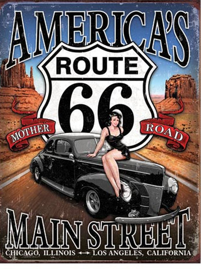 Route 66 - America's Main Street Metal Sign #1957