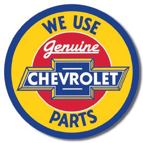 Chevy Round Genuine Parts Metal Sign #1072