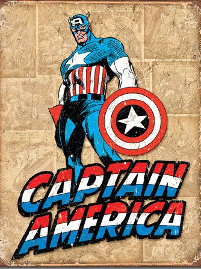 Captain America Retro Panels Metal Sign #1736