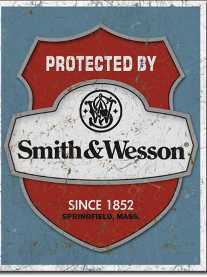 Smith & Wesson Protected By Metal Sign #1682