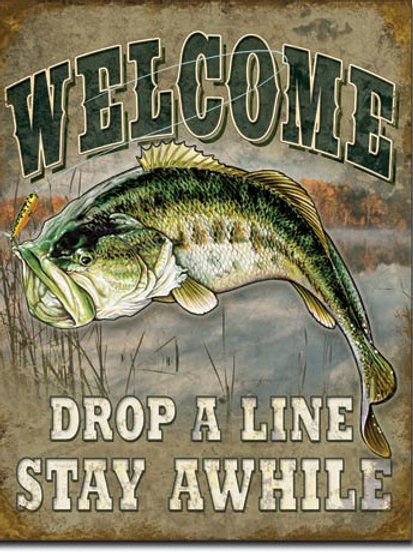 Welcome Bass Fishing Metal Sign #1669