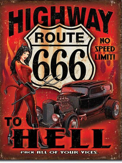 Route 666 - Highway to Hell Metal Sign #2123