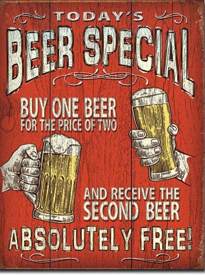 Today's Beer Special Metal Sign #2186