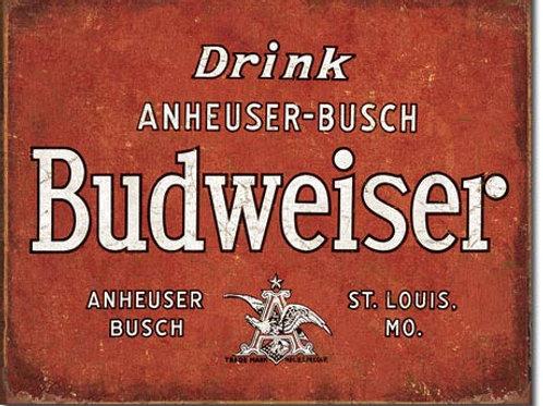 Budweiser Drink Anheuser-Busch Metal Sign #1864