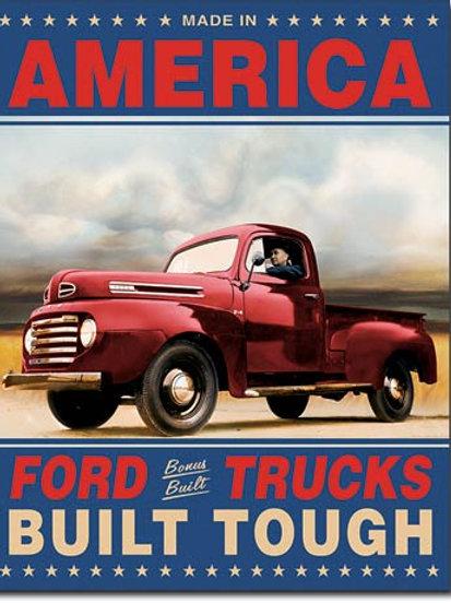 Ford Trucks Built Tough Metal Sign #1909